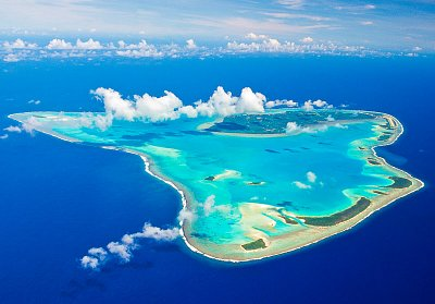 Romantic aerial view of Aitutaki